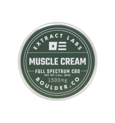 A can of Extract Labs' Muscle Cream on a white background.