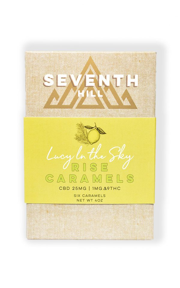A 6 pack box of Seventh Hill CBD on a clear background