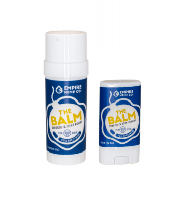 Two containers of CBD Topical called The Balm from Empire Hemp Co.