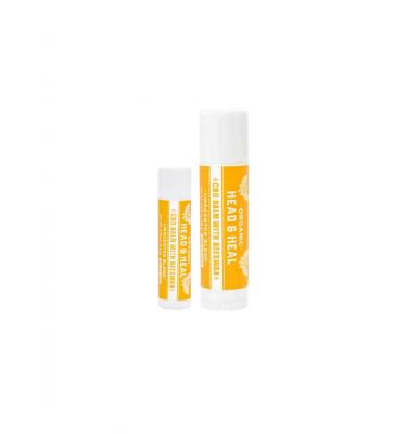 A small unscented CBD balm next to a large unscented balm against a white background