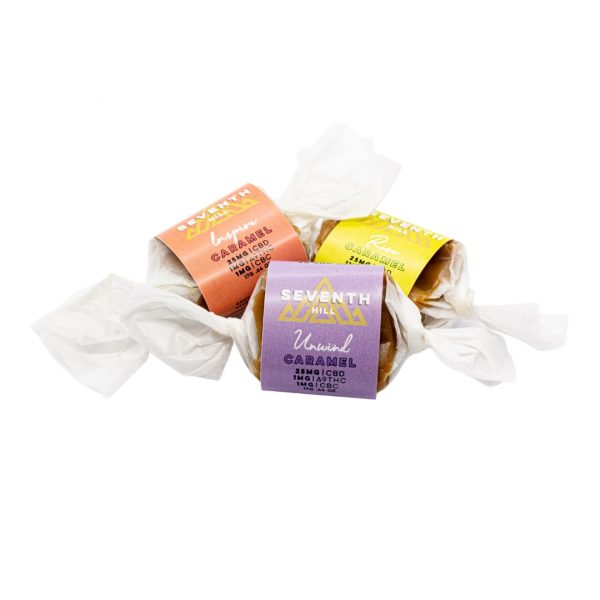 Three assorted flavors of Seventh Hill's CBD Caramels on a white background.