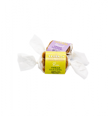 A pair of assorted flavors of Seventh Hill's CBD Vegan Caramels on a white background.
