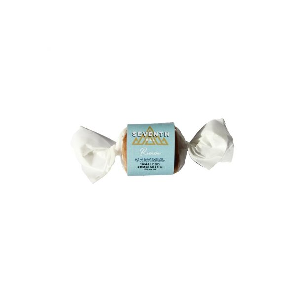 A single wrapped Delta-8 THC Revive caramel on a white background.