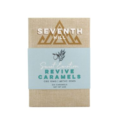 A 6 pack box of Revive Caramels, from Seventh Hill, on a white background.