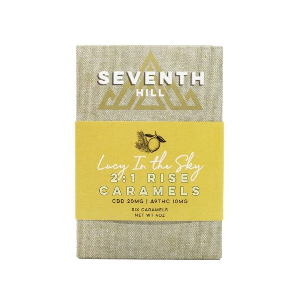 A box of Seventh Hill's 2:1 Rise Caramels against a white background
