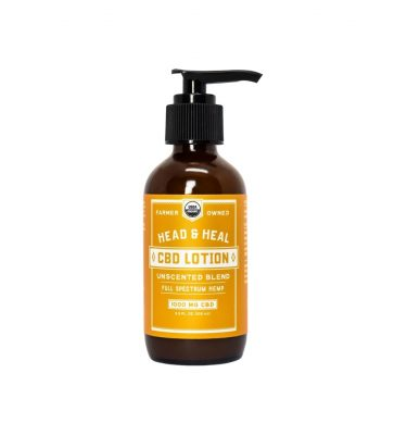 A bottle of Head & Heal's Unscented CBD Lotion