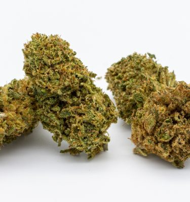 Three, Sour Lifter, hemp flowers piled next to each other on a white background.