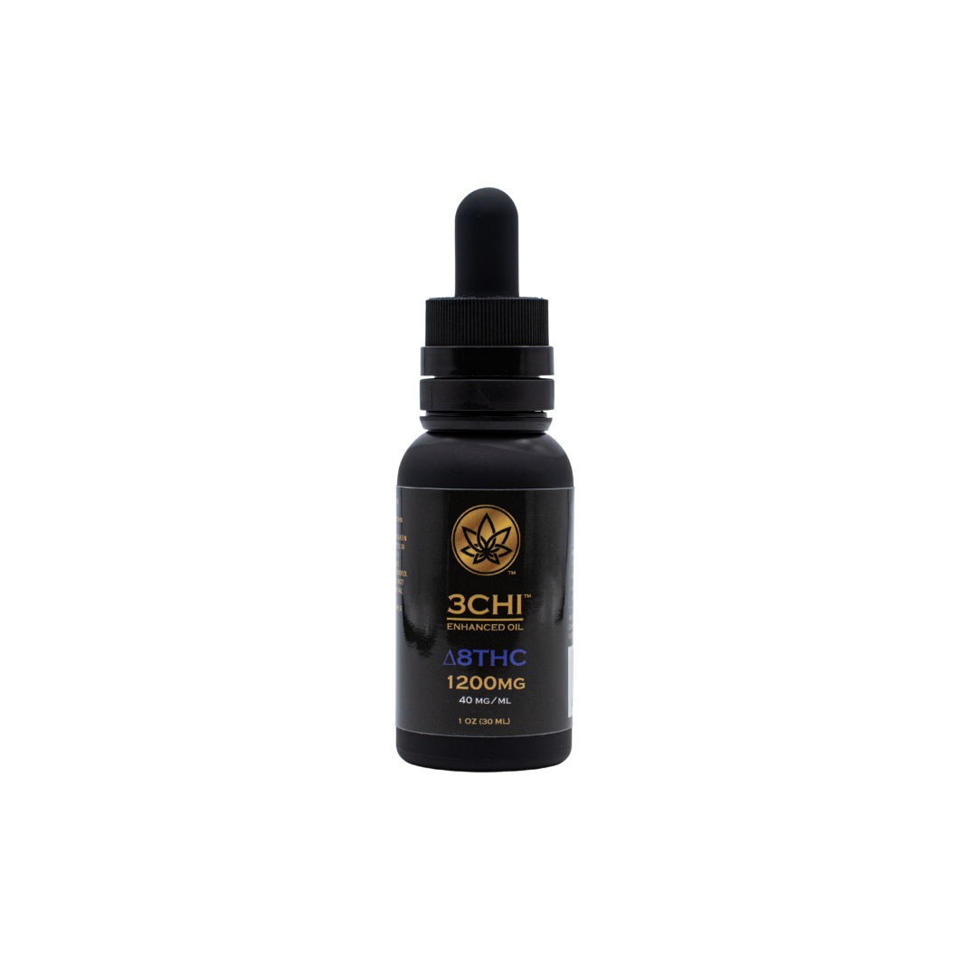 A bottle of 3Chi Delta 8 THC on a white background