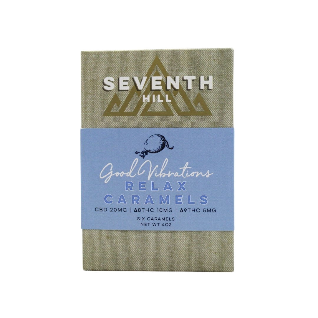 A 6 pack box of Seventh Hill CBD's Relax Caramels on a clear background
